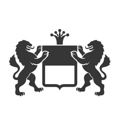 Coat of arms heraldic lions with shield and crown vector