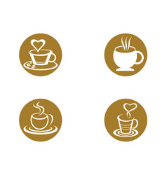 Coffee drink cup logo template icon design vector
