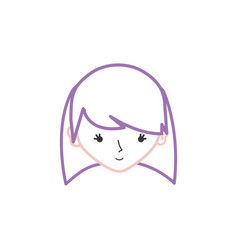 color line avatar girl head with hairstyle design vector image