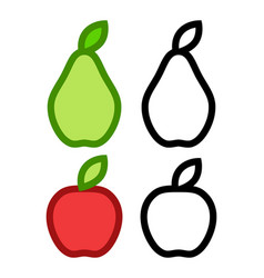 colorful icons pear and apple and their vector image