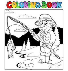 Coloring book with fisherman 1 vector