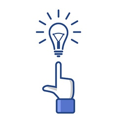 Concept Idea Forefinger Pointing at Light Bulb vector image