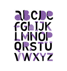 creative abc alphabet minimal hand drawn vector image