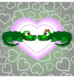 Crocodiles In Love Valentines Day vector image