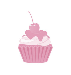 cupcakes and muffins icon pink desserts vector image
