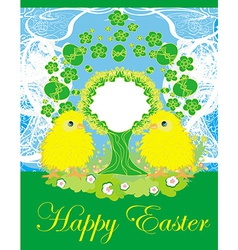 cute chickens and Easter tree frame vector image