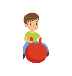 Cute little boy bouncing on red hopper ball vector