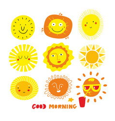 Cute sun faces set isolated on white background vector
