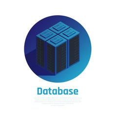 database blue round background vector image
