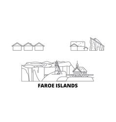 Denmark faroe islands line travel skyline set vector