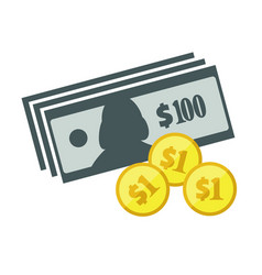 Dollars banknotes and coins icon vector