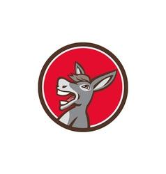 Donkey shouting circle retro vector