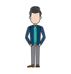 Drawing cartoon man standing character male vector