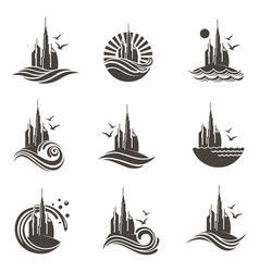 dubai icon set vector image