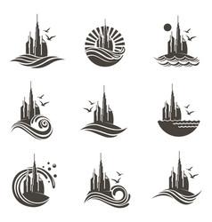 Dubai icon set vector