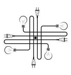 electric incandescent lamp with wire and plug vector image