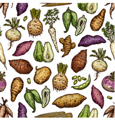 Exotic vegetables and roots seamless pattern vector