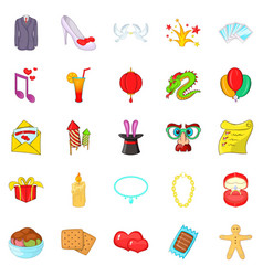 Festive clothing icons set cartoon style vector