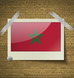 Flags Moroccoat frame on a brick background vector image
