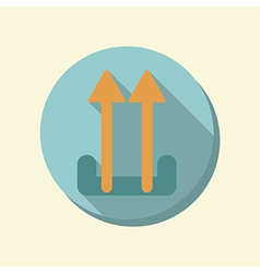 Flat circle web icon logistic icon arrow up vector