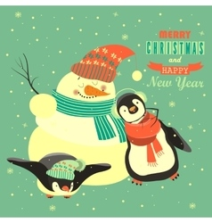 Funny penguins with snowman celebrating Christmas vector image