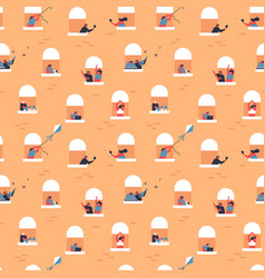 funny people in balcony seamless pattern vector image