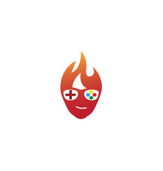 gamer fire head hair console symbol smile logo vector image