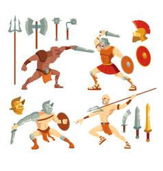 Gladiators ancient roman armored spartan warriors vector