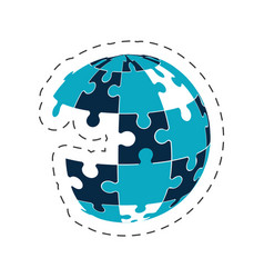 Global puzzle solution image vector