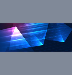 Glowing technology style banner with triangle vector