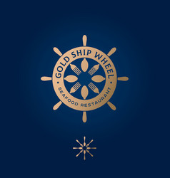 golden ship wheel logo restaurant emblem nautical vector image