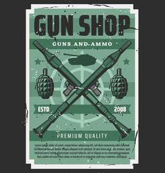 guns ammo shop military artillery equipment vector image