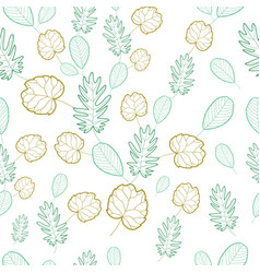 hand draw tropical leaves seamless pattern vector image