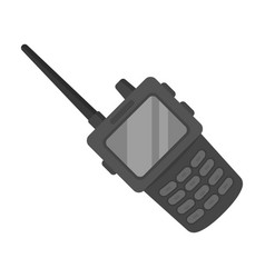 Handheld transceiver icon in monochrome style vector