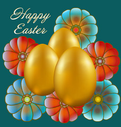 happy easter isolated on blue background vector image