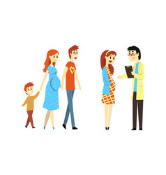 Happy families expecting babies set family vector