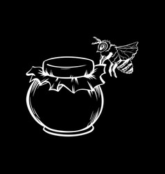 honey bee and honey jar outline logo design vector image
