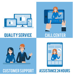 hotline support and online assistants set vector image