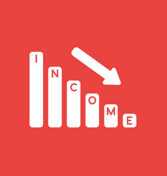 Icon concept of income sales bar graph arrow vector