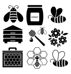 icons of bees and honey business vector image