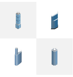 isometric building set of skyscraper residential vector image