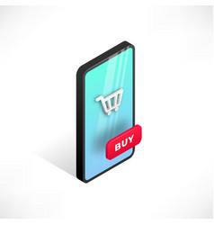 isometric smartphone online shopping vector image