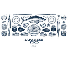 Japanese cuisine banner template sushi hand drawn vector