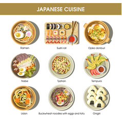 Japanese cuisine traditional dishes flat vector