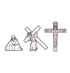 Jesus pray and crucifix icon cartoon graphic vector