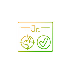 Junior hunting license gradient linear icon vector