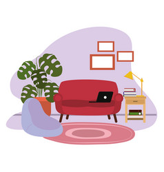 Laptop on sofa side table lamp potted plant and vector