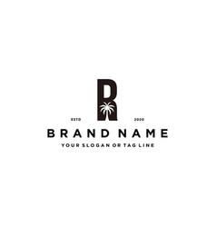 Letter r palm logo design concept vector