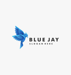 logo bird blue jay gradient colorful style vector image