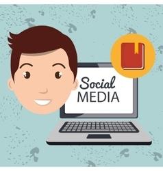 Man social media apps vector
